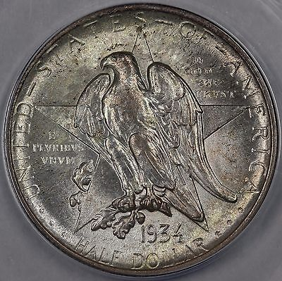 1934 50C Texas Silver Commemorative ANACS MS 64