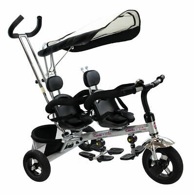 4 In 1 Twins Kids Baby Stroller Tricycle Safety Double Rotatable Seat w/ Basket
