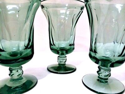 Three Fostoria Jamestown Green Footed Iced Tea Glasses 6 inches Tall Goblets