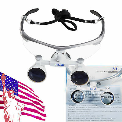 US Silver Dental Surgical Binocular Magnifier Loupes/Glasses 3.5X 420mm Loupe