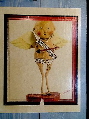 CUPID on Wood--Hand-crafted Vintage Rustic Whimsical Love Plaque Sign