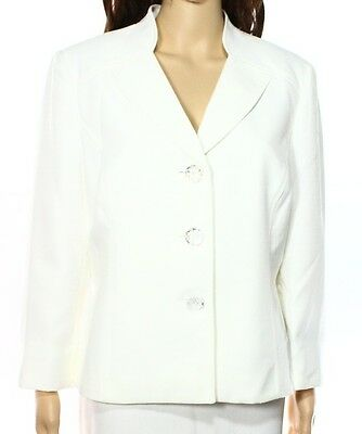 Le Suit NEW Vanilla Ice White Ivory Womens Size 14 Three-Button Blazer $100 248
