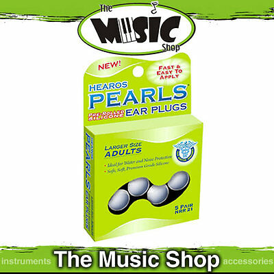 5 Pairs Hearos Pearls Pre Shaped Silicone Ear Plugs - Noise & Water - Adult Size