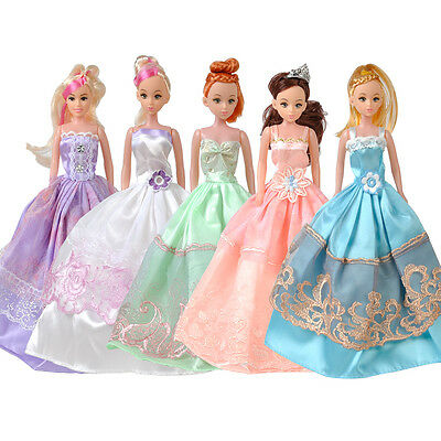 5pcs Princess Wedding Gown Bridal Dress Party Clothes Outfits For Barbie Doll