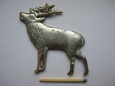 Antique German Christmas Ornament - LARGE DRESDEN Pressed cardboard silver DEER