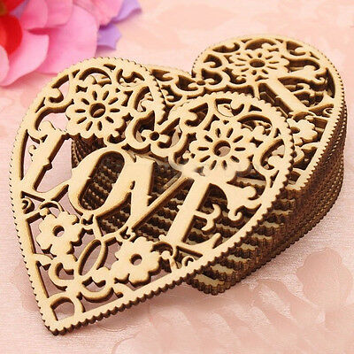 Hollow Wood Love Heart Pendants Carved Embellishments Chic Wedding Decor Gifts