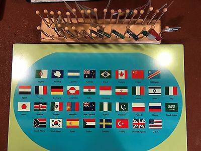 Montessori World Map and Flags in Stand