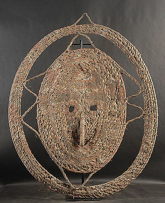 Large Woven Circular Gable Mask  Middle Sepik River   Papua New Guinea