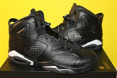 NIKE AIR JORDAN VI 6 RETRO BG GS BLACK WHITE 384665-020 NEW SIZE:6y