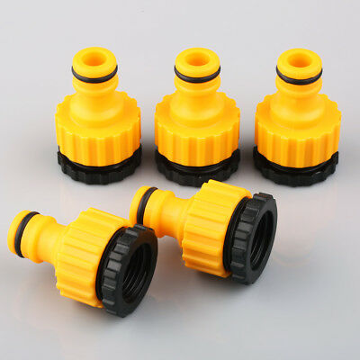 """5 x Garden Hose Pipe Tap Adaptor 3/4"""" With 1/2"""" Reducer Easy Quick Fix Connector"""