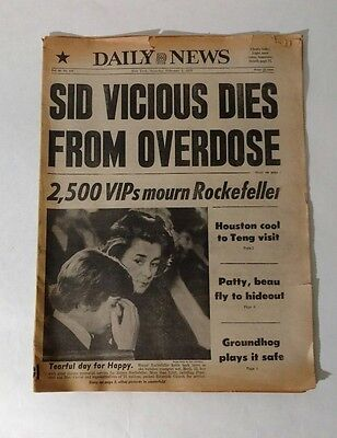 Punk Rock Legend SID VICIOUS/ Rockefeller Deaths NY DAILY NEWS Feb. 3, 1979 RARE