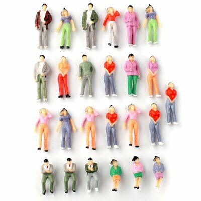 25pcs Train Scene Layout Passenger People Figures Painted Model 1:43 O Scale