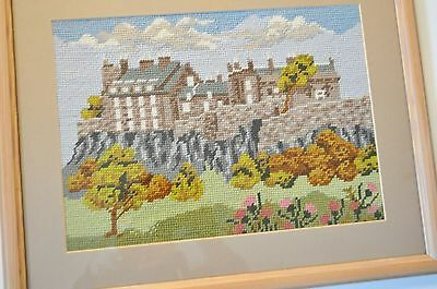 Hand Made Framed embroidered tapestrie picture of STIRLING CASTLE