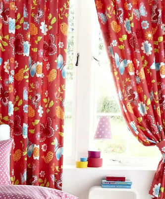 Children Curtains Butterfly Flowers Pair Red Pencil Pleat Girls Bedroom 66'x72'