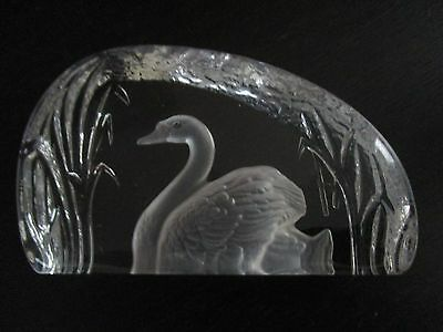 Wedgwood Crystal Swan Paperweight - Very Good Condition.