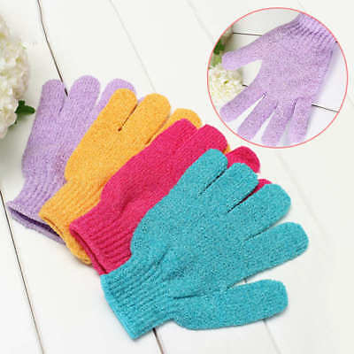 2pcs Bath Gloves Exfoliating Shower Wash Skin Spa Massage Loofah Body Exfoliator