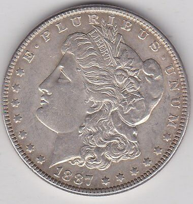 Usa 1887 Silver Morgan Dollar In Near Extremely Fine Condition