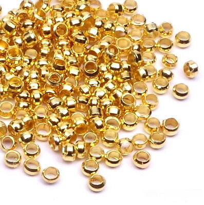 100 / 500 Quetschperlen 2mm Kugel Crimps GOLD Crimp Beads