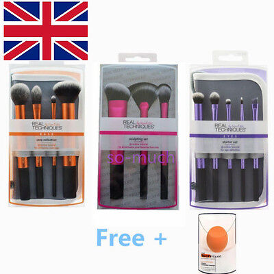 Real Techniques MakeUp Brushes Cosmetic Core Collection Starter NEW 4 Sets