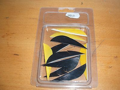 "Archery 10 feather fletchings 2.5"" 6 black and 4 yellow for arrow making"