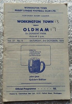 Workington town v Oldham Saturday 3rd October 1970 Rugby League Programme