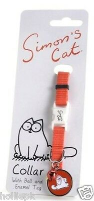 Simon's Cat Adult Collar With Safety Clip Buckle Enamel Tag & Matching Bell