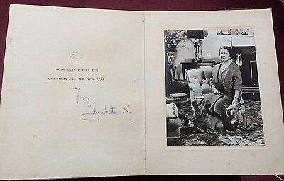 Queen Elizabeth the Queen mother Handsigned rare 1963 Christmas card 10x8' aged
