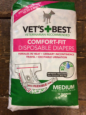 Vet's Best Comfort Fit Disposable Dog Diapers Nappies Female Fit