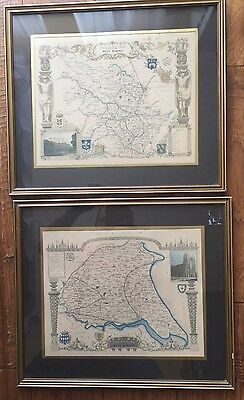 VINTAGE FRAMED MAPS EAST And WEST RIDING Of YORKSHIRE by FULLARTON & CO. C.1834