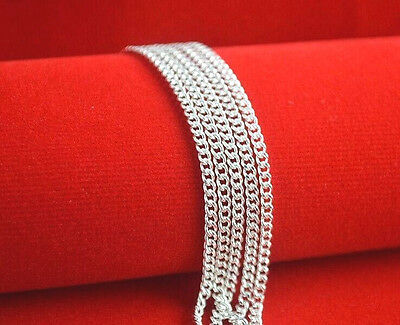 """Wholesale 5PCS 16-30"""" Fashion Jewelry Lot 925 Silver Flat Curb Chain Necklaces"""