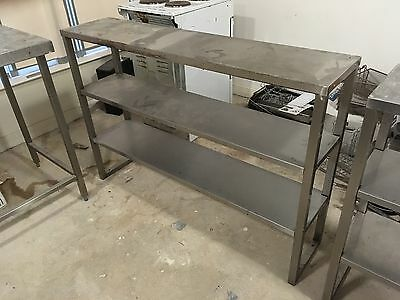 Large Stainless Steel Commercial Kitchen Worktop Table 3 Tier
