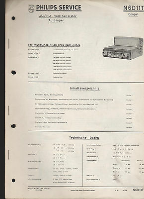 """Philips """" Autosuper N6D11T Coupe """" / Service Anleitung - service manual"""