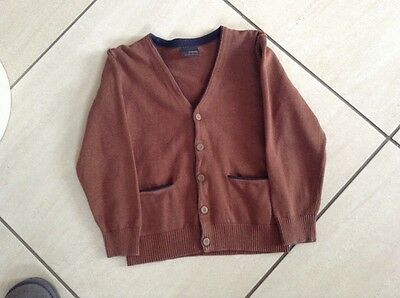 next boys cardigan age 6, rusty brown with navy trim