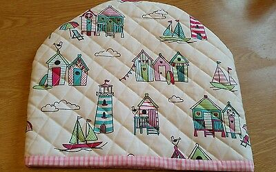 Handmade lined Quilted Tea Cosy beach Huts boats designer fabric gift candy