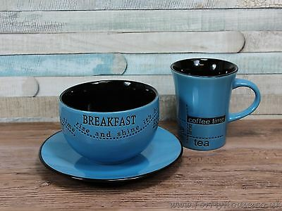 Blue breakfast set mug bowl and plate set coffee tea time
