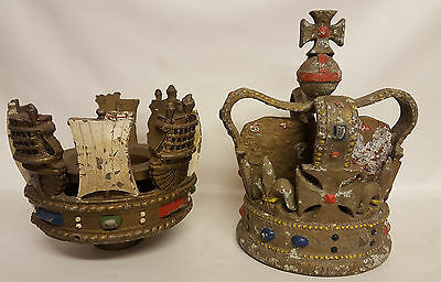 Extremely Rare - Queens Warship Crown & Coronet Flagstaff Flagpole Finial Large
