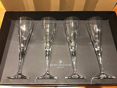 "Brand New! FOUR QUALITY ROYAL DOULTON CRYSTAL ""METRO"" CHAMPAGNE FLUTES GLASSES"