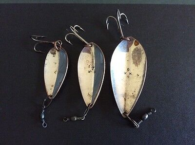 3 Vintage Fishing Spoon Lures, Marked.