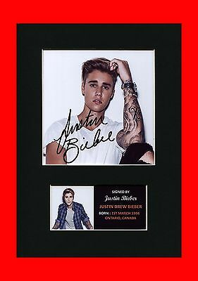 Justin Bieber signed qualitymounted  pre-print a4 brand new autographed