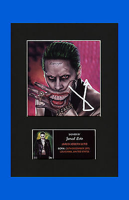 Jared Leto The Joker Suicide Squad signed pre print mounted picture new #