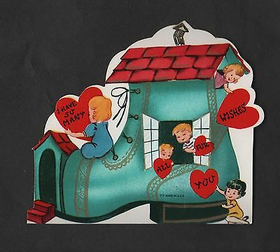 vintage die-cut Valentine Card children play onto Boothouse Shoehouse Unused