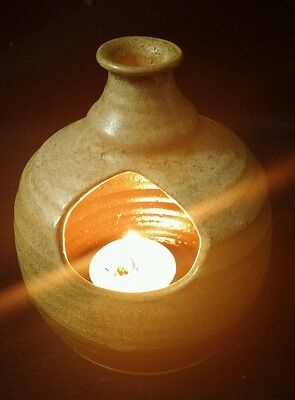 Gorgeous Vintage Hand made Canadian Art Pottery Hurricane Candle Holder Signed