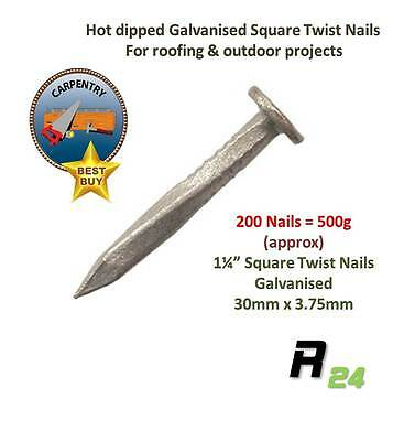 "500g 1¼"" Galvanised Square Twist Nails for roofing & fixing sheet materials"