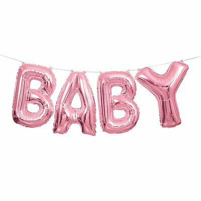 Pink Baby Balloon Banner Kit - Air Fill only - Baby Shower Party Balloons