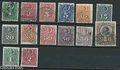 CHILE 1880-99 Roulets without bar full set USED no faults including scarce MALVA