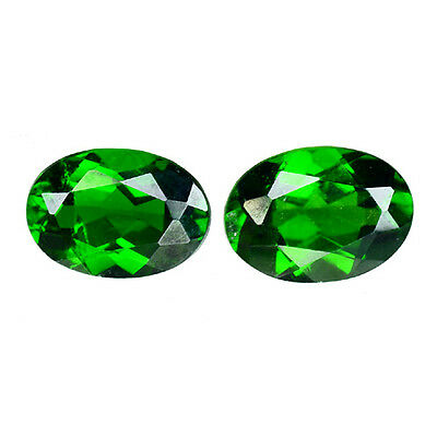 1.645 Cts Super Top Luster Green  Natural Chrome Diopside Oval 2Pcs