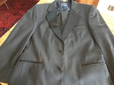 MARKS AND SPENCER MENS DINNER SUIT BLACK JACKET SIZE 42 R Trousers 36R