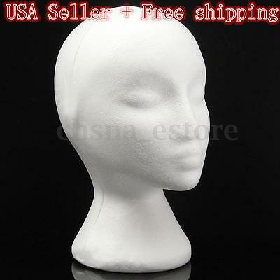 Female Styrofoam Mannequin Manikin Head Foam Model Hat Wig Hair Glasses Display