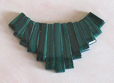 13 piece, malachite, tapered pendant set, for jewellery making crafts