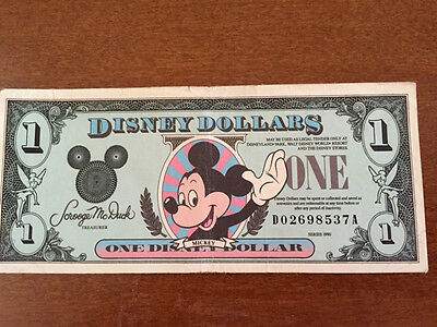 Disney Dollar 1990 Mickey Mouse $1 D-Series Uncirculated